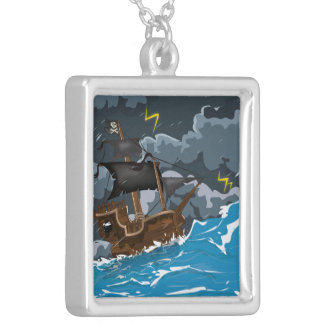 Piraten-Schiff im Sturm Versilberte Kette