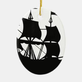 Piraten-Schiff Ovales Keramik Ornament