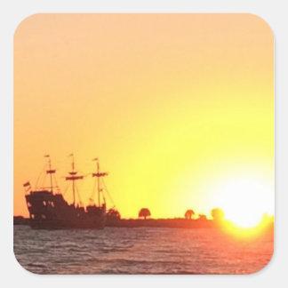 Piraten-Schiff Quadratischer Aufkleber