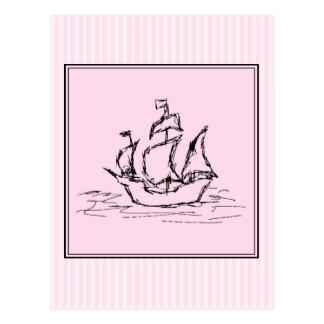 Piraten-Schiff. Schwarzes und Rosa Postkarte