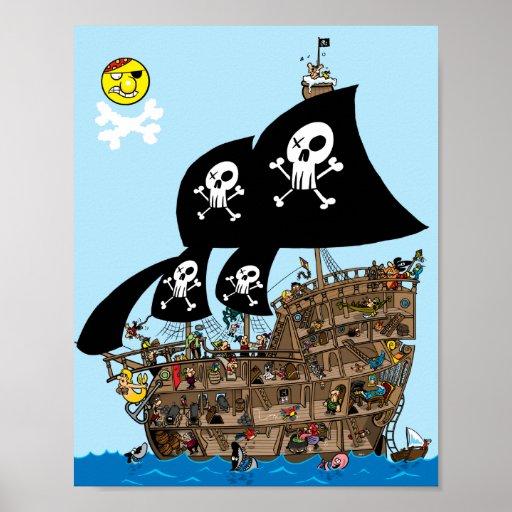 Piraten-Schiffs-Entweichen Posterdruck