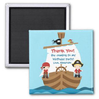 Piraten-Schiffs-Geburtstags-Party danken Ihnen Quadratischer Magnet