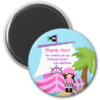 Piraten-Schiffs-Mädchen-Geburtstags-Party danken Runder Magnet 5,7 Cm
