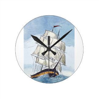 Piraten-Schiffs-Porträt-Geschenk Runde Wanduhr