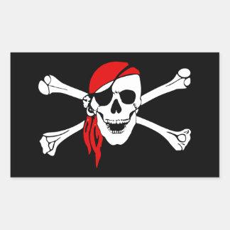 Piraten-Totenkopf mit gekreuzter Knochen-Flagge Rechteckiger Aufkleber