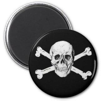 Piraten-Totenkopf mit gekreuzter Knochen Runder Magnet 5,1 Cm