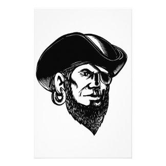 Piraten-tragender Augen-Flecken Scratchboard Briefpapier