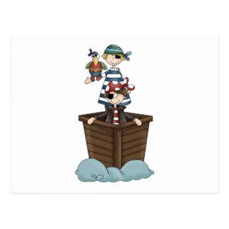 Piraten · Zwei Piraten in einem Boot Postkarte