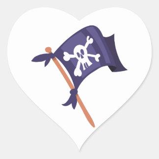 Piratenfahne Piratenflagge Herz-Aufkleber