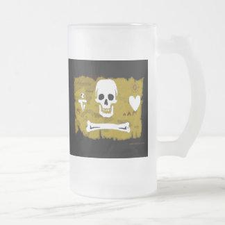 Piratenflagge-Karte #2 Mattglas Bierglas