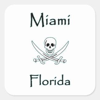 Piratenflagge Miamis Florida Quadratischer Aufkleber