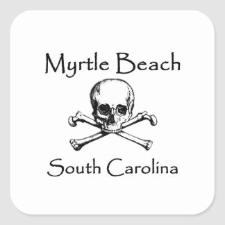 Piratenflagge Myrtle Beach South Carolina Quadratischer Aufkleber