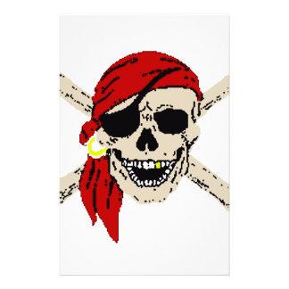 Piratenflagge-Piraten-Schädel entbeint rote Briefpapier