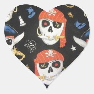 Piratenflagge-Piraten-Schädel Herz-Aufkleber