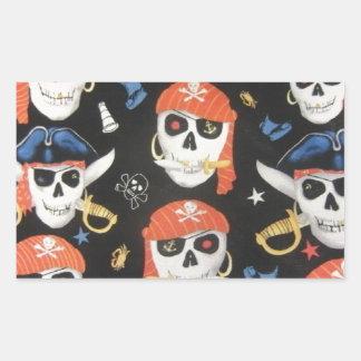 Piratenflagge-Piraten-Schädel Rechteckiger Aufkleber