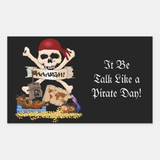 Piratenflagge, Piraten-Schiff u. der Kasten des Rechteckiger Aufkleber