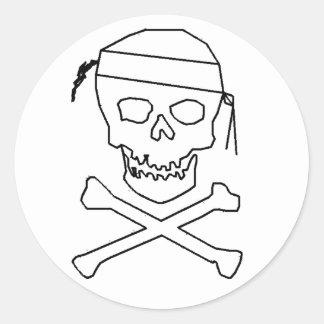 Piratenflagge-rundes Schwarzes auf transparentem Runder Aufkleber