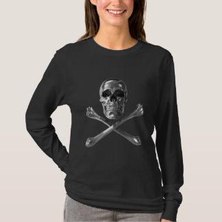Piratenflagge-Schädel-langer Hülsen-T - Shirt