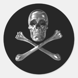 Piratenflagge-Schädel-runde Aufkleber