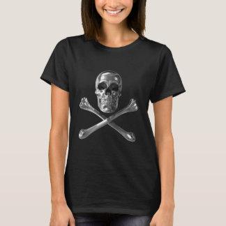 Piratenflagge-Schädel-Schwarz-T - Shirt