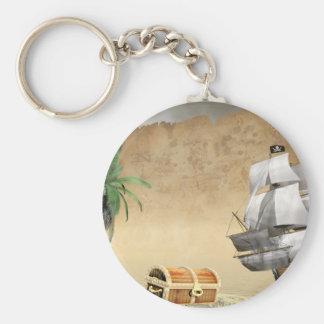 Piratenschiff, das einen Schatz entdeckt Schlüsselanhänger
