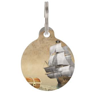 Piratenschiff, das Schatz findet - 3D übertragen Tiernamensmarke