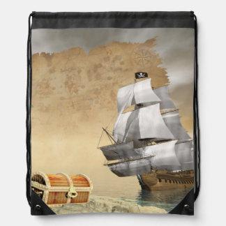 Piratenschiff, das Schatz findet - 3D übertragen Turnbeutel