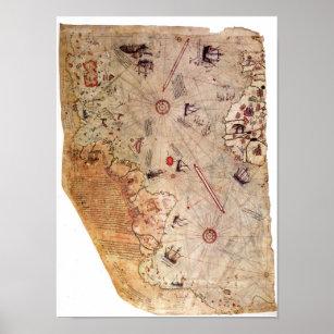 Piri Reis Karte Atlantis.Vintage Welt Poster Zazzle De