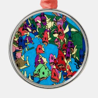 Pirranha Party Silbernes Ornament