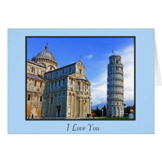 Pisa der lehnende Turm mit Liebe-Zitat Karte