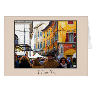 Pisa-Markt in der Gasse mit Liebe-Zitat Karte