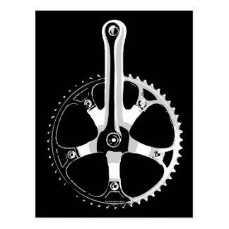 Pista Fahrrad Crankset - Weiß auf Schwarzem Postkarte