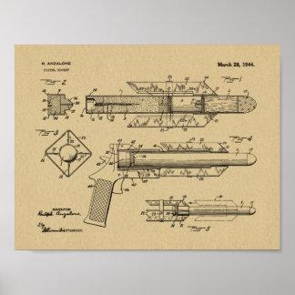 Pistolen-Rocket-Patent-Kunst 1944, die Druck Poster