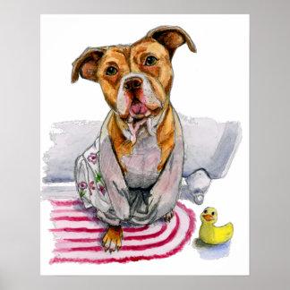 Pitbull-Hund in der Bademantel-Aquarell-Malerei Poster