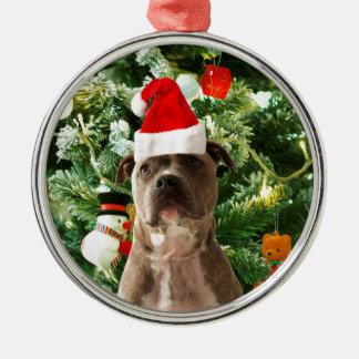 Pitbull Hundeweihnachtsbaum verziert Schneemann Silbernes Ornament
