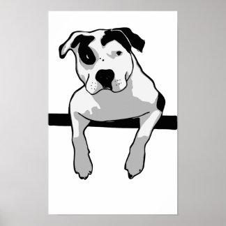 Pitbull-Knochen-Grafik Poster