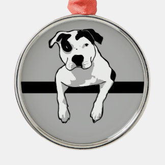 Pitbull-Knochen-Grafik Silbernes Ornament
