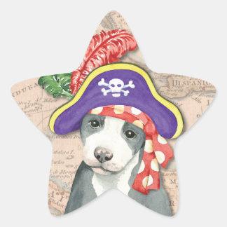 Pitbull-Terrier-Pirat Stern-Aufkleber