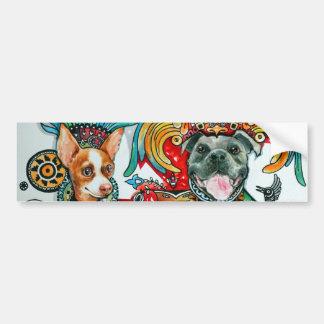 Pitbull und Chihuahua Autoaufkleber