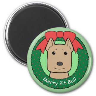 Pitbull Weihnachten Runder Magnet 5,1 Cm