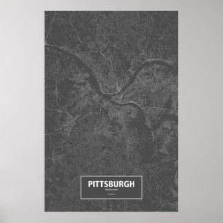 Pittsburgh, Pennsylvania (weiß auf Schwarzem) Poster
