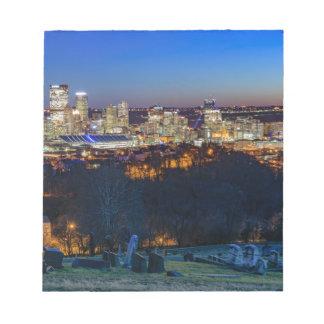 Pittsburgh-Skyline am Sonnenuntergang Notizblock