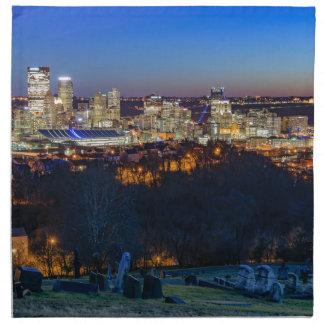 Pittsburgh-Skyline am Sonnenuntergang Stoffserviette