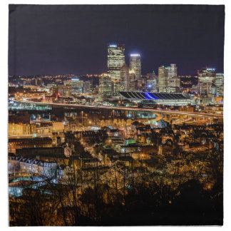 Pittsburgh-Skyline nachts Stoffserviette