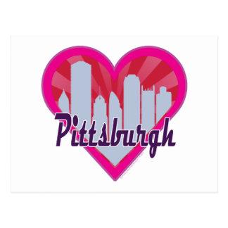 Pittsburgh-Skyline-Sonnendurchbruch-Herz Postkarte