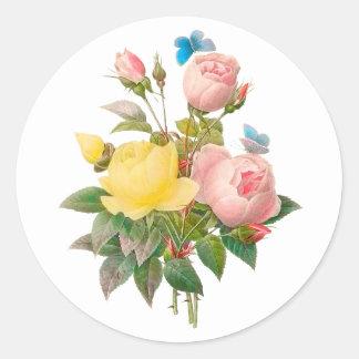 PixDezine Vintage viktorianische Rosen/redoute Runder Aufkleber