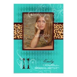 PixDezines 2011 Abschluss, Leopard-Druck 12,7 X 17,8 Cm Einladungskarte