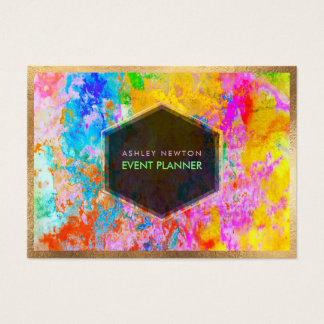 PixDezines abstrakte Galaxie/Neonfarben Visitenkarte
