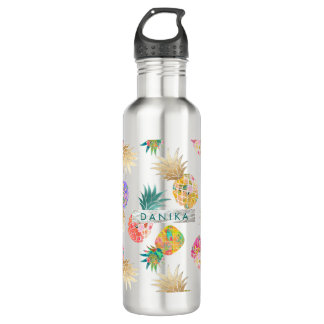 PixDezines Aloha Ananas+BlumenAquarell Trinkflasche