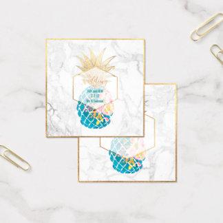 PixDezines Aloha Ananas/Gold/Marmor/Einschließung Quadratische Visitenkarte